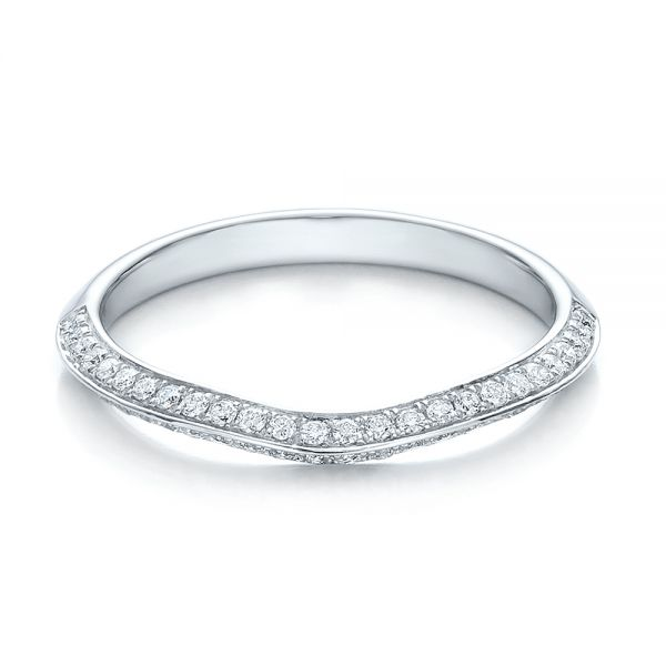 14k White Gold Bright Cut Diamond Wedding Band - Flat View -