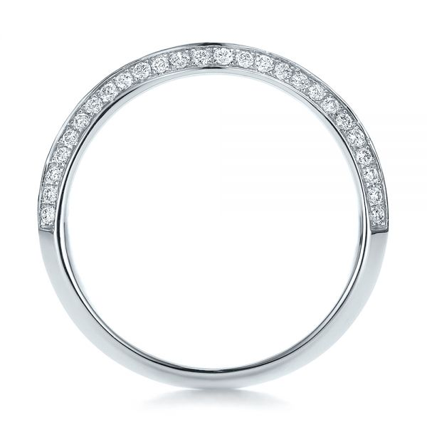 14k White Gold Bright Cut Diamond Wedding Band - Front View -