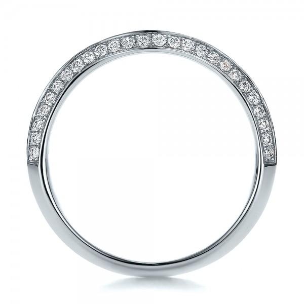 Bright Cut Diamond Wedding Band - Finger Through View