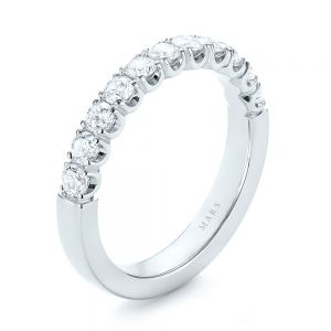 Brilliant Faceted Split-prong Diamond Wedding Band - Image