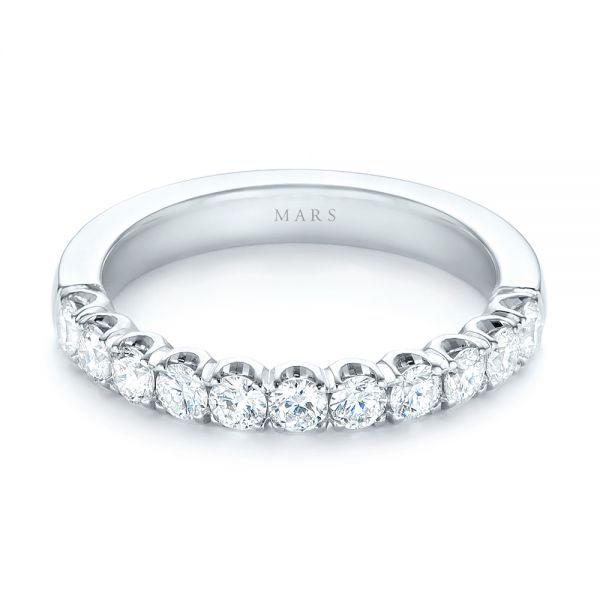 18k White Gold Brilliant Faceted Split-prong Diamond Wedding Band - Flat View -