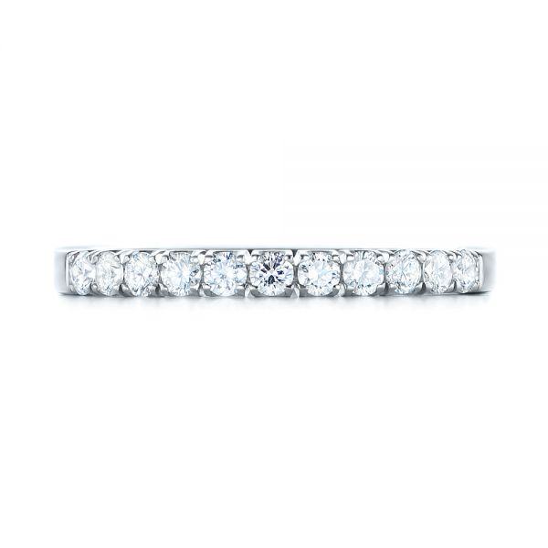 18k White Gold Brilliant Facet Split-prong Diamond Wedding Band - Top View -