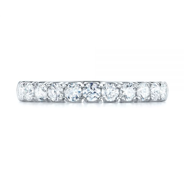 18k White Gold Brilliant Faceted Split-prong Diamond Wedding Band - Top View -