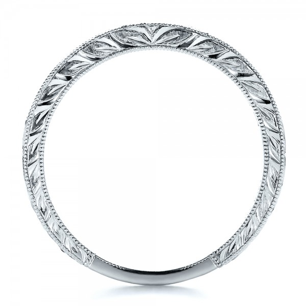 Channel Set Diamond Band with Matching Engagement Ring - Kirk Kara - Finger Through View
