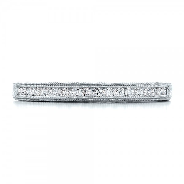 Channel Set Diamond Band with Matching Engagement Ring - Kirk Kara - Top View