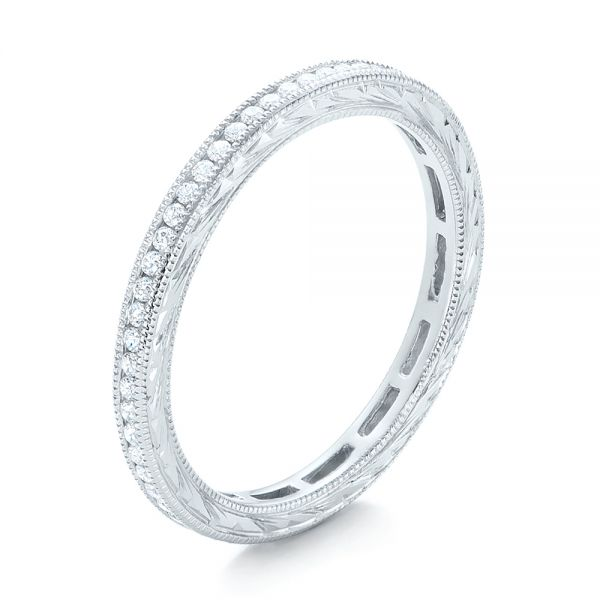 18k White Gold Channel Set Diamond Stackable Eternity Band - Three-Quarter View -