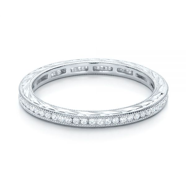 18k White Gold Channel Set Diamond Stackable Eternity Band - Flat View -
