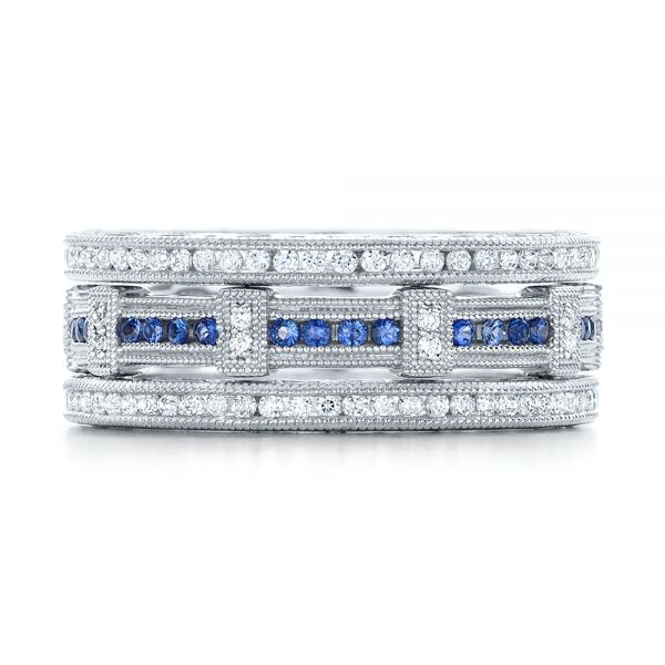 18k White Gold Channel Set Diamond Stackable Eternity Band - Front View -