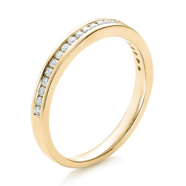 14k Yellow Gold 14k Yellow Gold Channel Set Diamond Wedding Band - Three-Quarter View -  100413