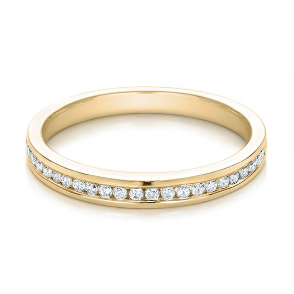 14k Yellow Gold 14k Yellow Gold Channel Set Diamond Wedding Band - Flat View -  100413