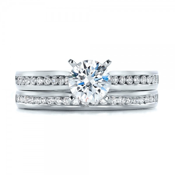 Channel Set Diamond Wedding Band - Top View -  100413 - Thumbnail