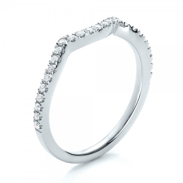 Contemporary Bands: Contemporary Curved Shared Prong Diamond Wedding Band