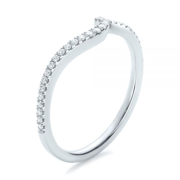 Contemporary Curved Shared Prong Diamond Wedding Band - Image