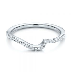 Contemporary Curved Shared Prong Diamond Wedding Band