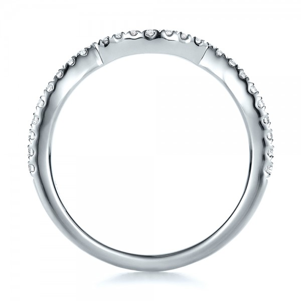 Contemporary Curved Shared Prong Diamond Wedding Band - Finger Through View