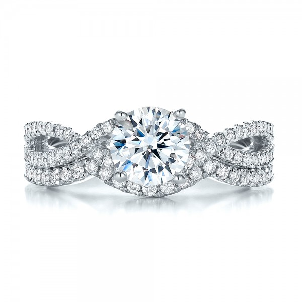 Contemporary Curved Shared Prong Diamond Wedding Band - Top View