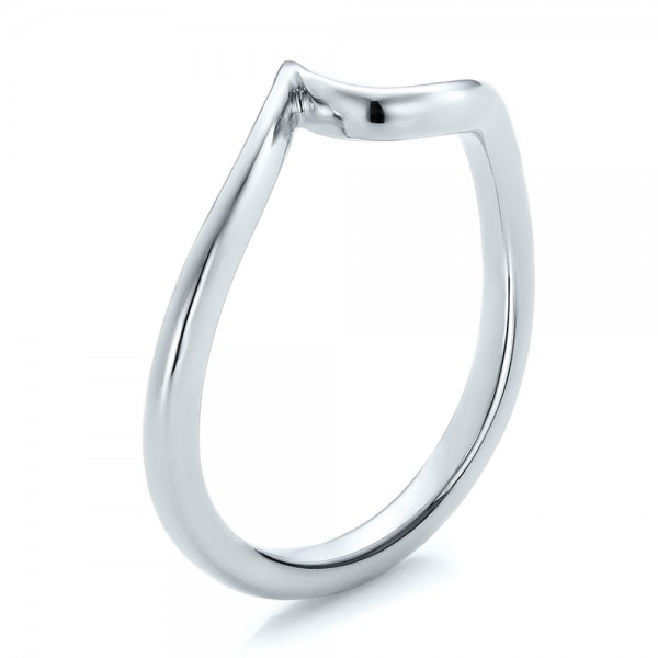 Contemporary Curved White Gold Wedding Band