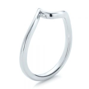 Contemporary Curved White Gold Wedding Band - Image