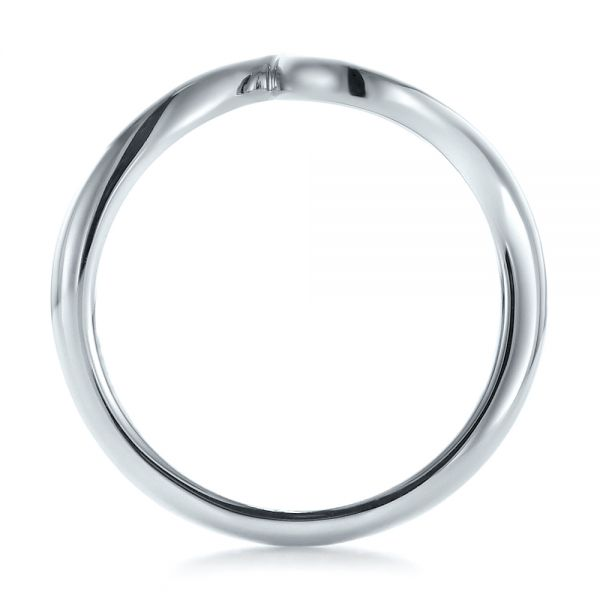 Contemporary Curved White Gold Wedding Band - Front View -  100409 - Thumbnail