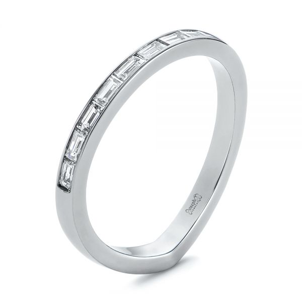 Contoured Black Rhodium Diamond Wedding Band - Image