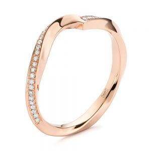 Contoured Rose Gold Diamond Wedding Ring - Image