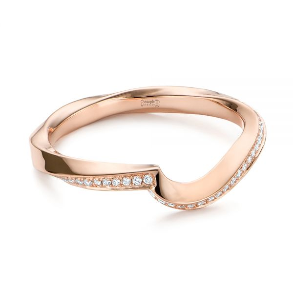 18k Rose Gold Contoured Diamond Wedding Ring - Flat View -  105159