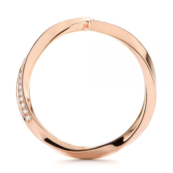 18k Rose Gold Contoured Diamond Wedding Ring - Front View -  105159
