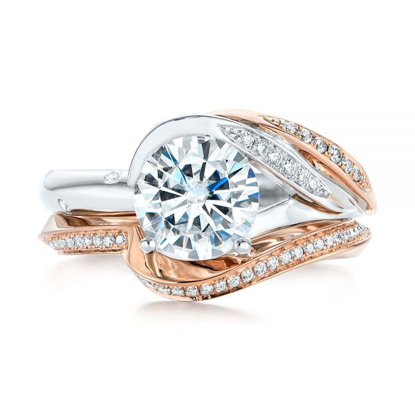 18k Rose Gold Contoured Diamond Wedding Ring - Top View -  105159