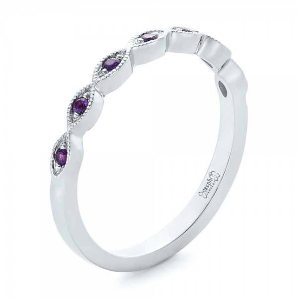Custom Amethyst Wedding Band
