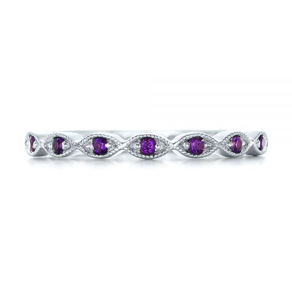 14k White Gold Custom Amethyst Wedding Band - Top View -  102323