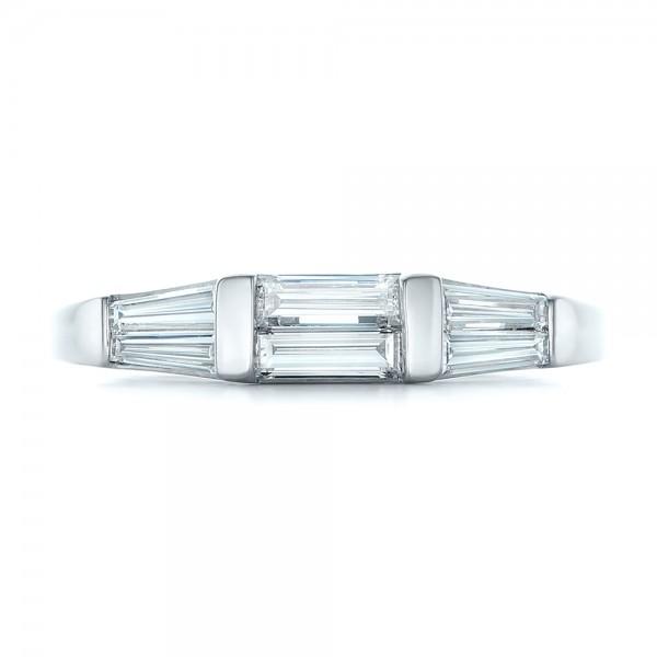 Custom Baguette Diamond Wedding Band - Top View