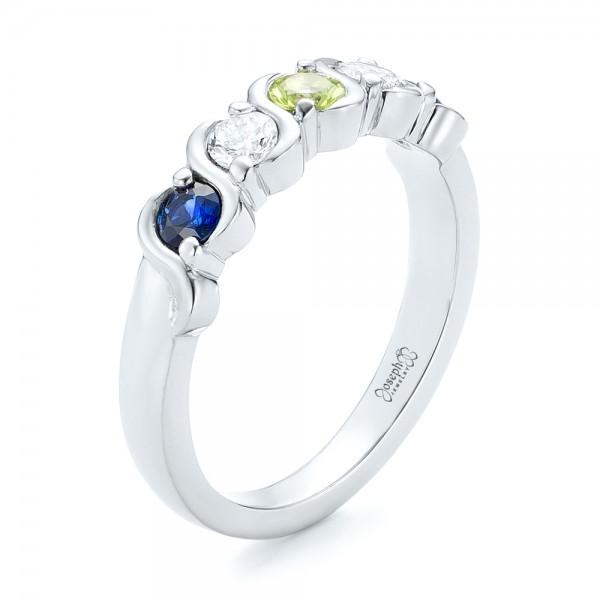 Custom Peridot, Blue Sapphire and Diamond Anniversary Band