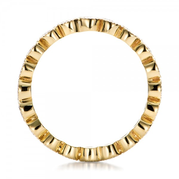 Custom Bezel Set Diamond Eternity Wedding Ring - Finger Through View