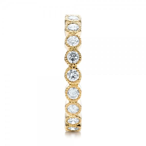Custom Bezel Set Diamond Eternity Wedding Ring - Side View