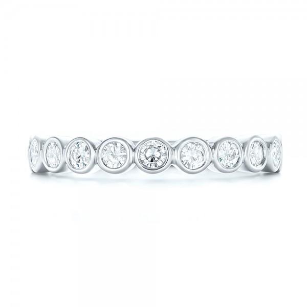 custom bezel set diamond wedding band top view