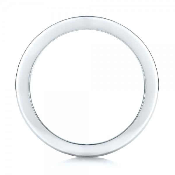 Custom Black And White Diamond Wedding Bands - Finger Through View