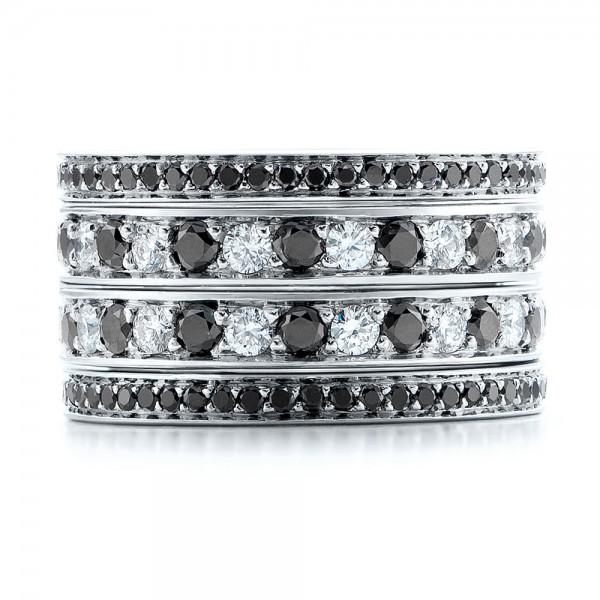 Custom Black And White Diamond Wedding Bands - Top View