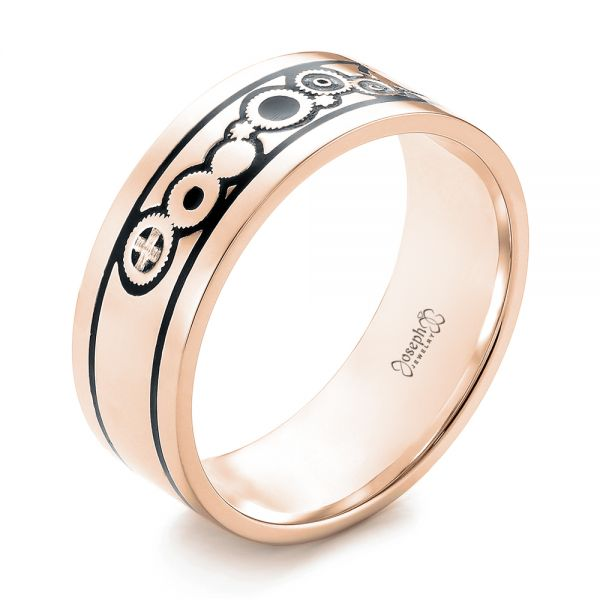 14k Rose Gold 14k Rose Gold Custom Black Antiqued Engraved Wedding Band - Three-Quarter View -  103282