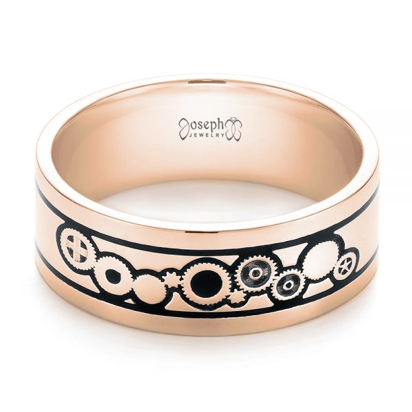 14k Rose Gold 14k Rose Gold Custom Black Antiqued Engraved Wedding Band - Flat View -  103282
