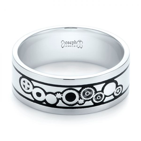 14k White Gold Custom Black Antiqued Engraved Wedding Band - Flat View -