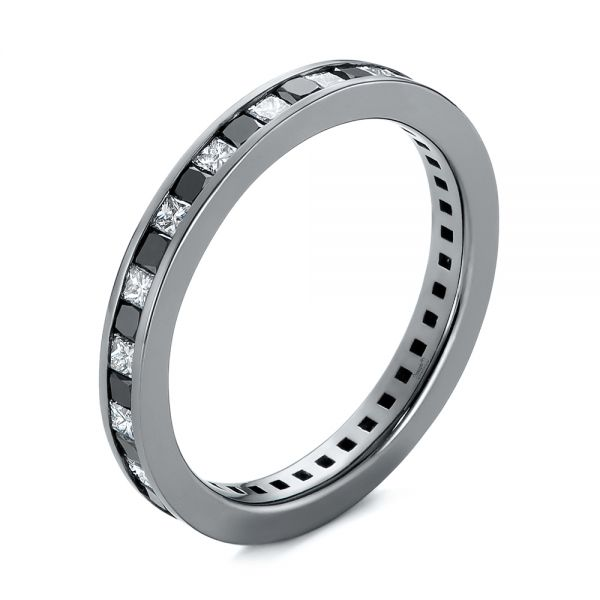 Custom Black and White Diamond Wedding Band - Image