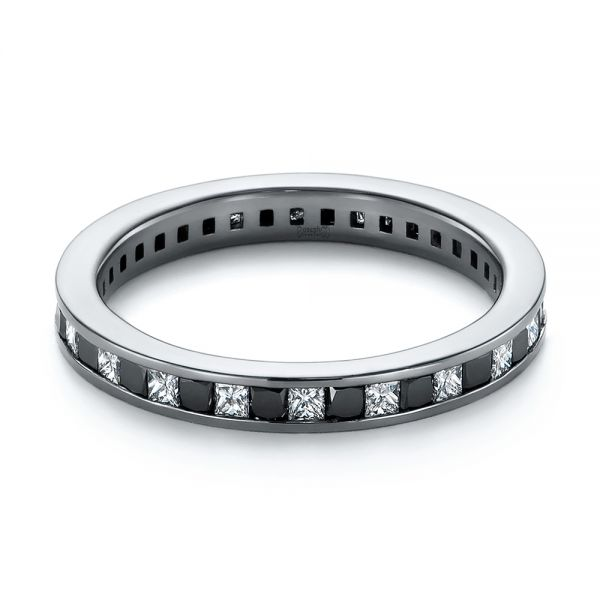 Platinum Platinum Custom Black And White Diamond Wedding Band - Flat View -  104030