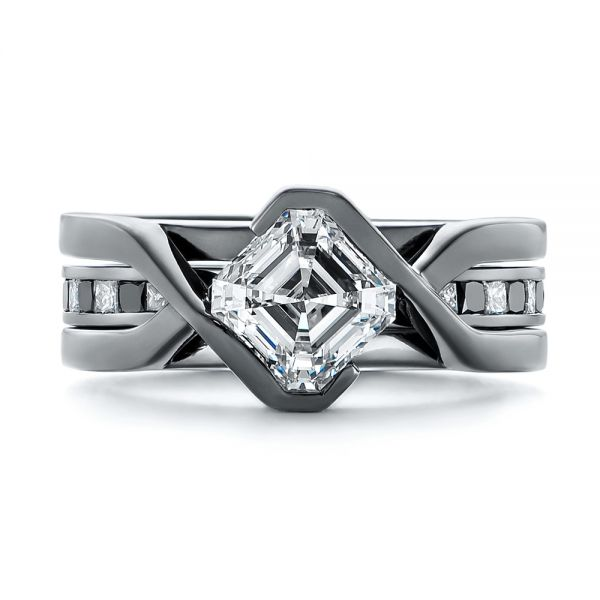 Platinum Platinum Custom Black And White Diamond Wedding Band - Top View -  104030