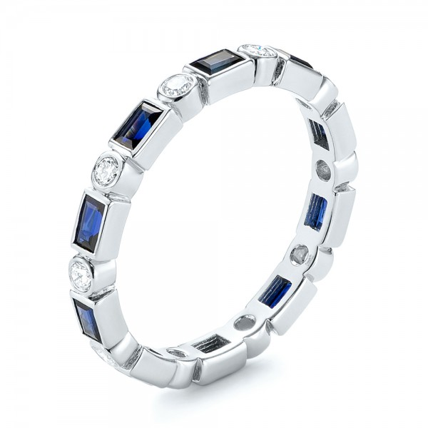 Custom Blue Sapphire and Diamond Eternity Wedding Band