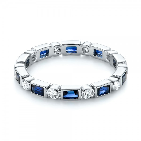 Custom Blue Sapphire and Diamond Eternity Wedding Band - Laying View