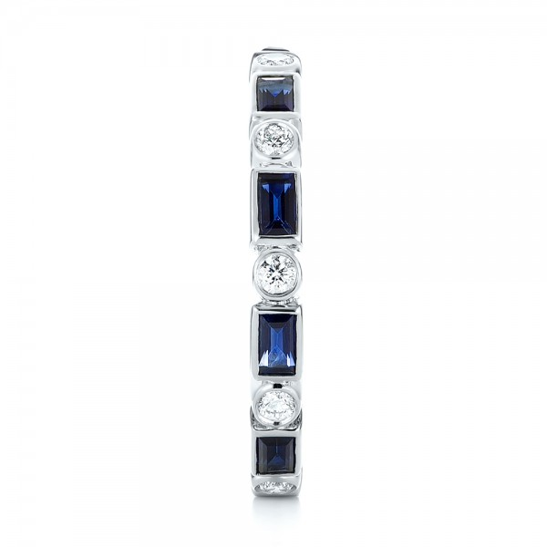 Custom Blue Sapphire and Diamond Eternity Wedding Band - Side View