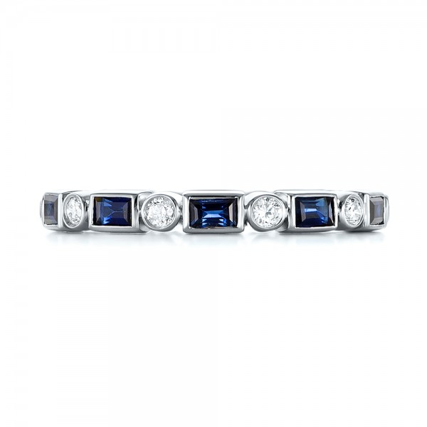 Custom Blue Sapphire and Diamond Eternity Wedding Band - Top View