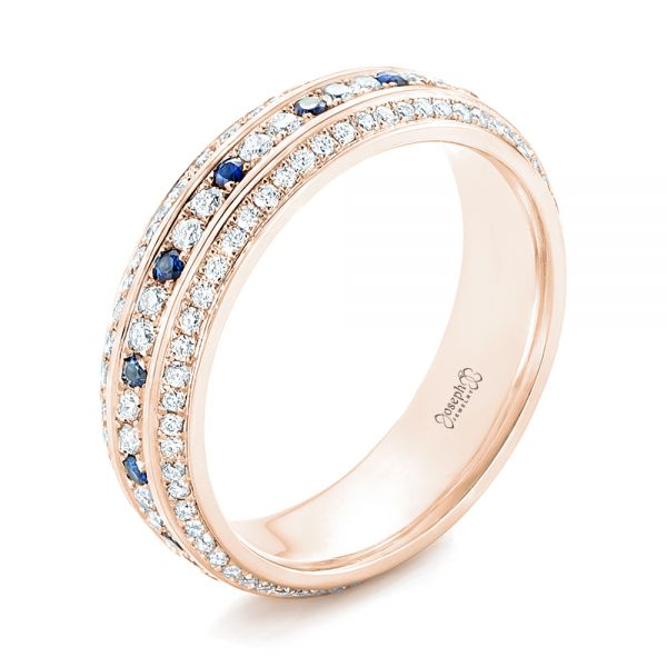 18k Rose Gold 18k Rose Gold Custom Blue Sapphire And Diamond Eternity Wedding Band - Three-Quarter View -  102798