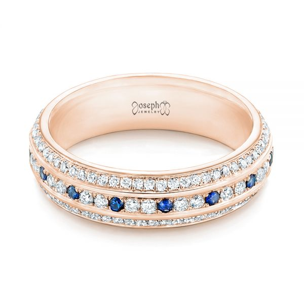 18k Rose Gold 18k Rose Gold Custom Blue Sapphire And Diamond Eternity Wedding Band - Flat View -  102798