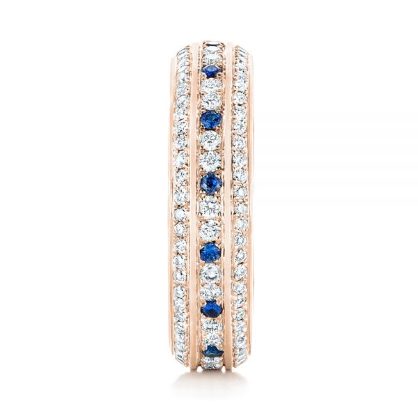 18k Rose Gold 18k Rose Gold Custom Blue Sapphire And Diamond Eternity Wedding Band - Side View -  102798